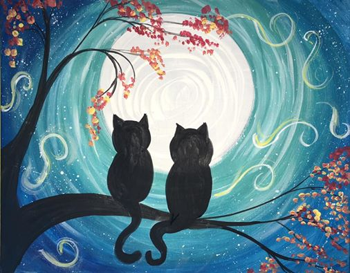 cat painting easy step by step canvas paintings for beginners cat and moon acrylic painting
