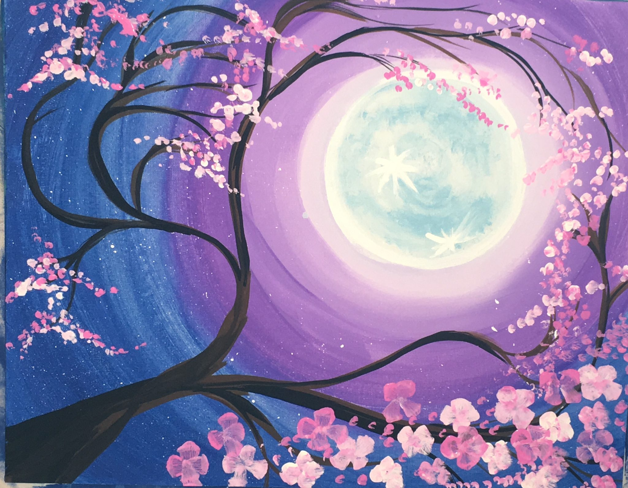 How To Paint A Cherry Blossom Tree With Moon Step By