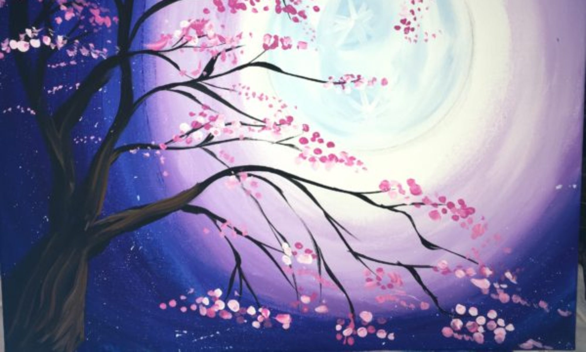 Cherry Blossom Tree Acrylic Painting