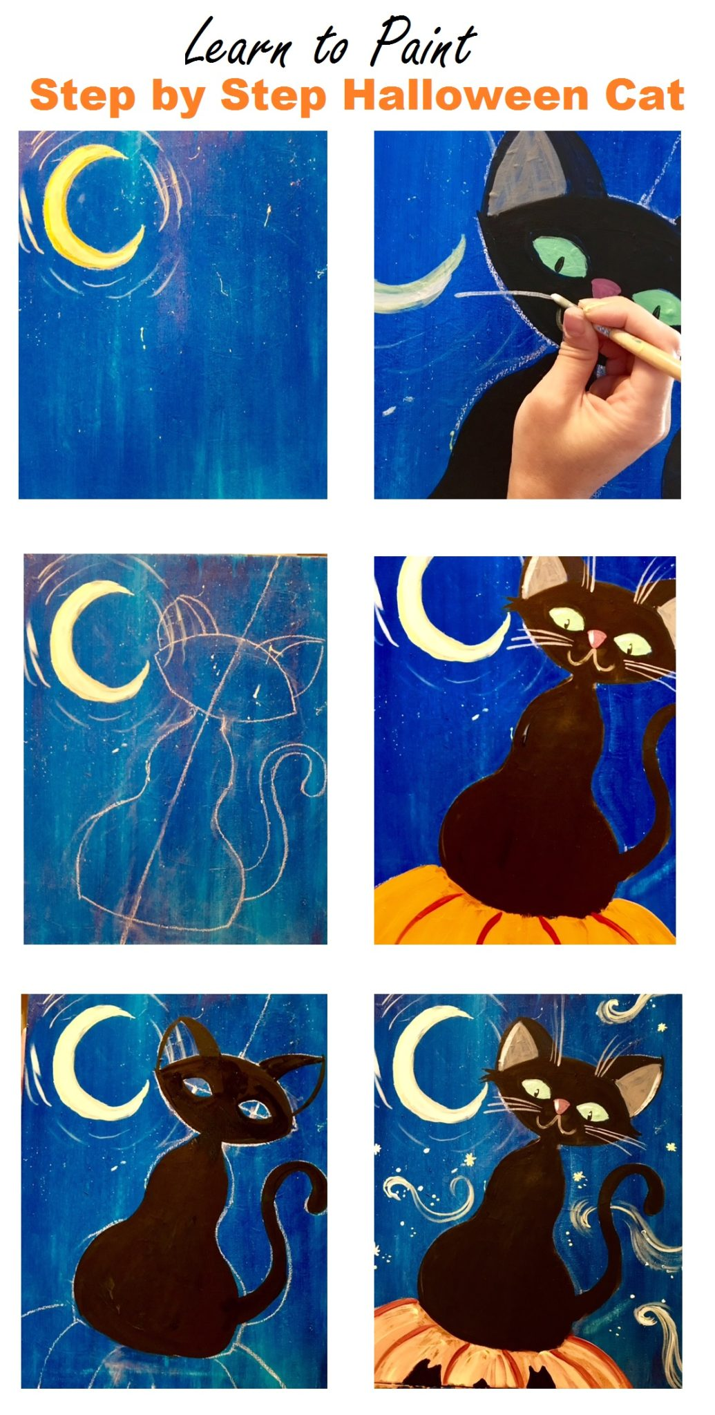 How To Paint A Halloween Cat - Step By Step Acrylic Painting - photo#6