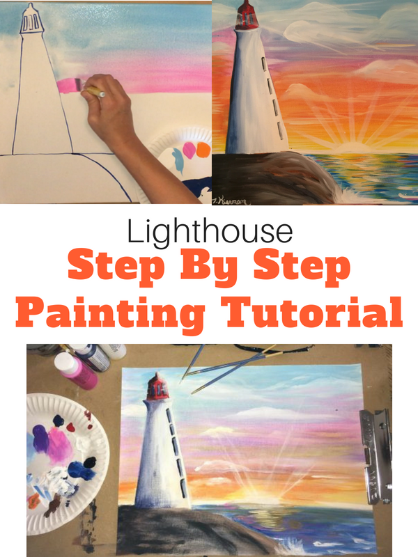 How To Paint A Lighthouse Sunset - Tracie's Acrylic Canvas ...