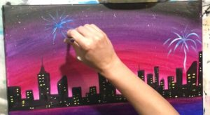 how to paint fireworks acrylic canvas painting for beginners
