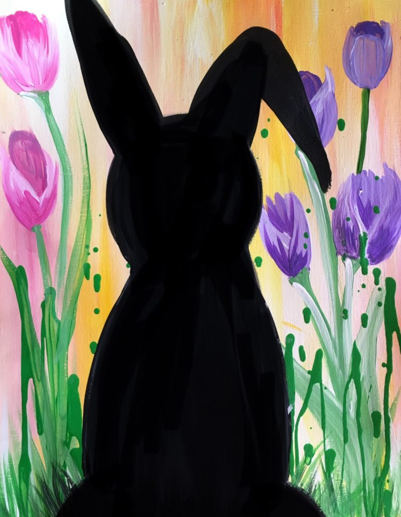 Easter Canvas Painting Bunny Silhouette Acrylic Painting