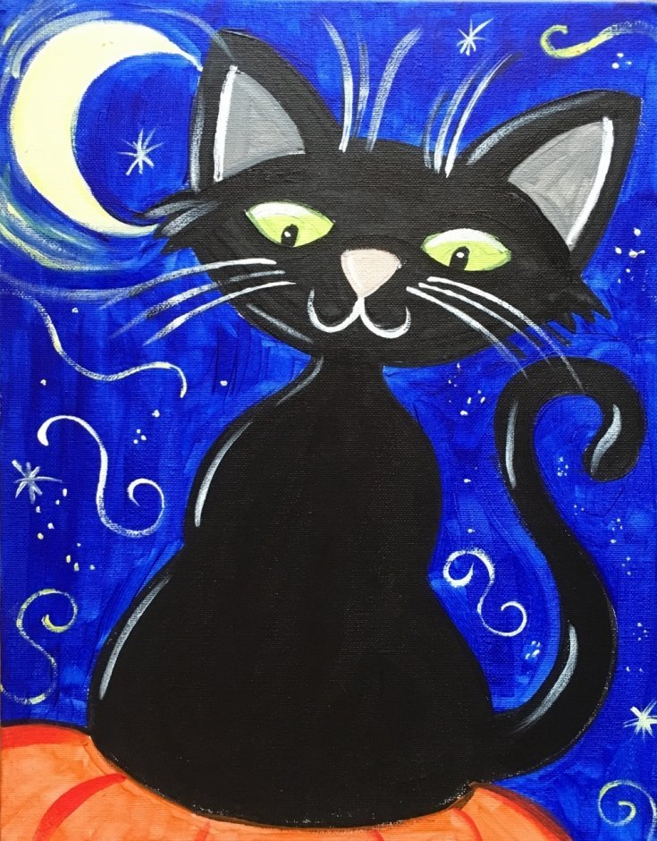 Halloween canvas painting for kids, easy Halloween cat, learn to paint with acrylics step by step