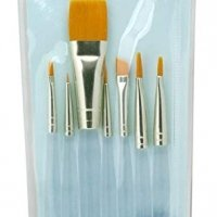 Royal & Langnickel Royal Zip N' Close Gold Taklon Clear Acrylic Handle Variety 7-Piece Brush Set