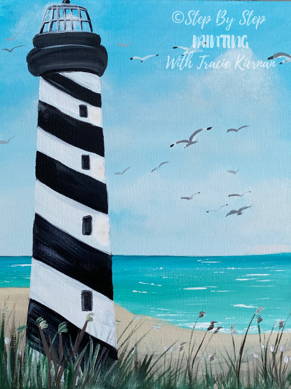 Lighthouse Beach Painting Step By Step Painting With Tracie Kiernan